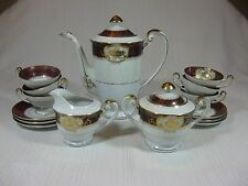 Hakusan China of Japan Demi Tea Service for 6 Hand Painted Red Band Ornate Gold