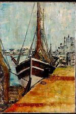 Tableau huile sur toile vers 1970 Bateaux Port Marine Pêche