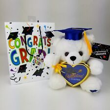 "8"" Graduation Plush Teddy Bear Blue Cap & Diploma Holding Heart Frame Gift Bag"
