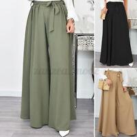 UK Women Elastic Waist Loose Culotte Trousers Wide Leg Baggy Palazzo Pants Dress