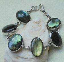 Silber Labradorit Armkette 23 cm Handarbeit Armband Blau Schlicht Breit Bunt