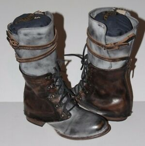 Freebird By Steven Ravi Leather Boots Ice 8 Mid Calf Shoes Brown Gray Free Bird