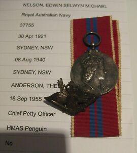 WW2 RAN NAVY CPO NELSON RETURNED ACTIVER SERVICE CORONATION BADGE MEDAL ANZAC