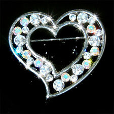 w Swarovski Crystal Clear Love HEART Valentine Bridal Wedding Pin Brooch Jewelry
