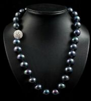 noblest each knot 12 mm southsea rainblack shell June pearl necklace 20 inch