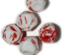 Red White Chunk Czech Pressed Glass Beads 15mm (pack of 5)