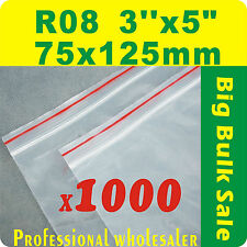 """1000 x R08 75X125mm(3""""X5"""") Resealable/ Zip Lock Plastic Seal Bags Free Postage"""