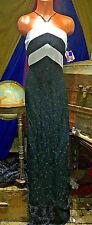 Black Bling Metallic Silver Glitter Pageant Pencil Bodycon Maxi Gown Dress M 13
