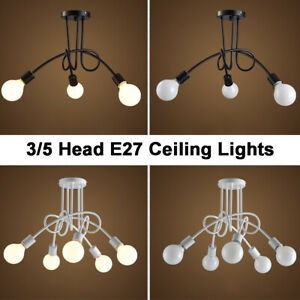 3/5 Way E27 Fittings Black/White Wrought Iron Ceiling Lights Nordic Loft Pendant