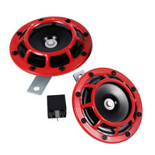 2Pcs Red 12V Super Loud Compact Electric Blast Super Tone Hella Horn F Car Truck
