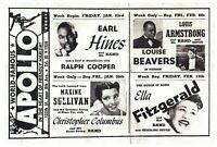 Ella Fitzgerald Louis Armstrong Apollo Postcard Jazz Harlem New York City TPC-A
