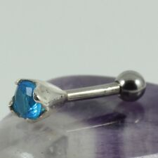 Ear Cartilage Bar Helix Piercing Silver Motif 4mm Aquamarine Crystal 1.2 x 6mm