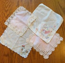 4 Charming Vintage Little Girl's Hankies Handkerchief Hanky