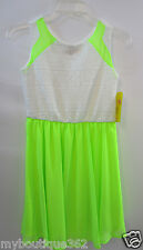 GB GIRLS LIME/WHITE  LACE TOP DRESS SIZE LG NEW NWT