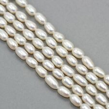 Long Ivory White Rice Oval Freshwater Pearls Beads for Jewellery Making