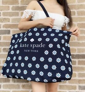 NEW Kate Spade Navy Blue White Daisy Logo Extra Large Canvas Tote Bag Floral