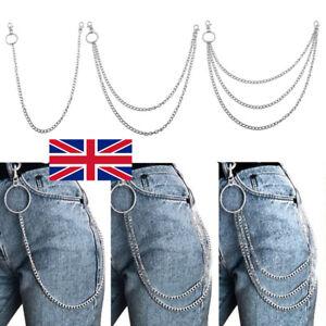 1/2/3 Layers Jeans Key Punk Metal Trousers Pants Belt Body Chain Chains Rock UK
