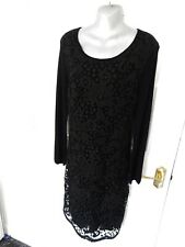 POMODORO Ladies Size 16 Black Knit Soft Stretchy Jumper Dress Lace Front