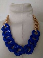 Vtg Chunky Royal Blue Plastic Lucite Acrylic Chain Link Gold Statement Necklace