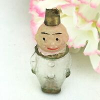 Vintage Mini Hand Blown Glass Perfume Bottle Clown Man Figural Germany