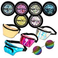 Chunky face body hair glitter holographic bum bag festival tinted sunglasses Gel