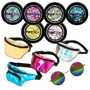 Festival Chunky Body Glitter & Bumbag & Sunglasses Rave Party Club Accessories