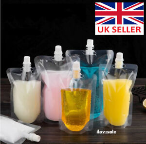 5 Sizes Stand up Clear Plastic Spouted Drink Bag Pouch Cruise Booze Reusable Lot