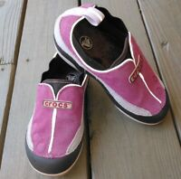Youth Girl's Crocs Slip-on Pink Sz   13 leather with faux fur inside VGUC RARE