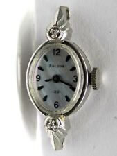 Vintage Ladies Bulova 23 Jewels 5AT White 10KT Gold Filled Diamond Wrist Watch