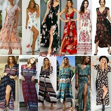 Women's Maxi Boho Floral Summer Beach Long Slit Evening Cocktail Party Sundress