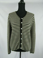 LL Bean Womens Size Small Cardigan Brown White Striped Cotton Button Up Vintage