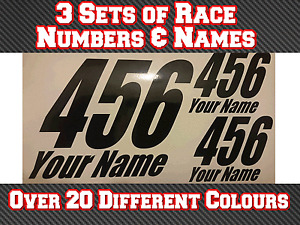 """3 Sets 7"""" Race Numbers & Name Motocross Vinyl Stickers Decals MX  Track Bike T17"""