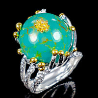 Handmade Natural Turquoise 925 Sterling Silver Ring Size 8/R125174