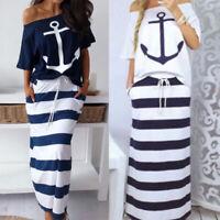 Summer Women Dress Striped Anchor Navy Printed Two-pieces T shirt Long Dress
