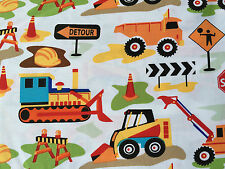 By 1/2 Yard Michael Miller Fabric Dig it White ~ diggers bulldozers construction