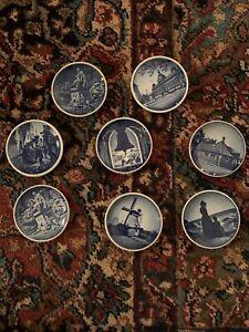 Vintage Royal Copenhagen Denmark Fajance 3 1/4 Inch Plates. Set Of 8.