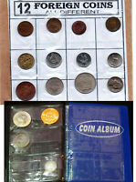Pocket Mini Coin Album + 10pcs Different Countries 1980 - 90s XF World Coins lot