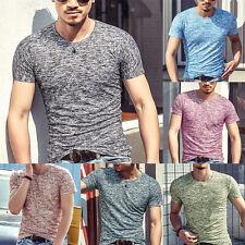 Mode Hommes Uni Manches Courte Col V T-Shirt Slim Fit Chemise Décontractée Haut