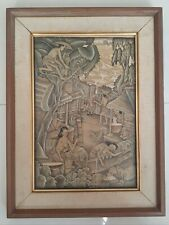 BALI Framed Balinese Painting on Board Signed Lo Pion Village Farming Scene