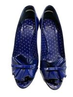 MOSCHINO CHEAP AND CHIC BLUE PATENT LEATHER RUFFLE PUMPS, 37, $1098