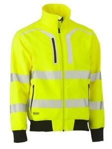 Mens 4XL Bisley Taped Hi Vis Soft Shell Bomber Jacket Yellow (BJ6979T)