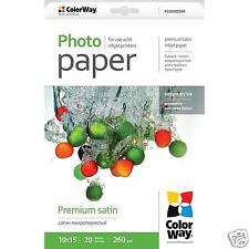 Top Quality ColorWay A6 Photo Paper Premium Satin 260gsm 20 Sheets PS2600204R