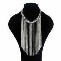 Women Chain Choker Statement Tassel Chunky Pendant Bib Necklace Jewelry