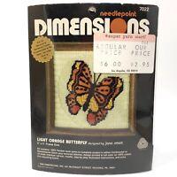 Vtg 1980 Dimensions LIGHT ORANGE BUTTERFLY Needlepoint Kit 7022 NIP NOS