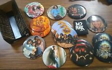 "18 Large Vintage 6"" Buttons Heavy Metal Music Pins Iron Maiden Gun N roses"
