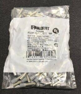 100 x Panduit FSD81-12 Pan-Term Ferrules - 12 AWG 12mm Grey Sleeve - FSD81-12-C