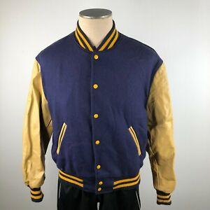 Vintage Reed Sportswear Mens 38 Navy Blue Wool Tan Leather Varsity Jacket Snaps