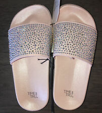 Time and Tru Women's Sparkly  Diamond Pink Pool Slides Size 9 10 NWT