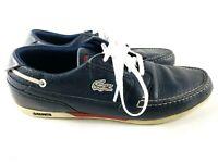 Lacoste Dreyfus Boat Shoe Leather Izod Sneaker Dark Blue White Men Size 9.5