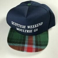 Scottish Weekend Snapback Hat VTG Moultrie Georgia Cap USA Made Plaid Bill Mens